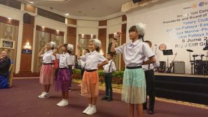 CPDC and Drop- In children performe in front of the Rotary Club